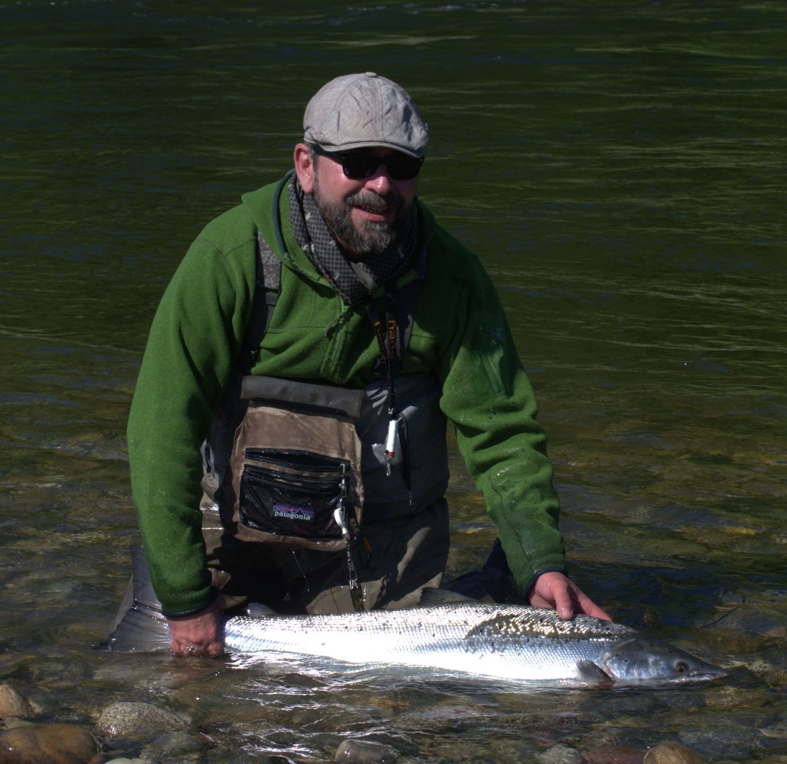 Bernard with his nice salmon of appr. 10kg.
