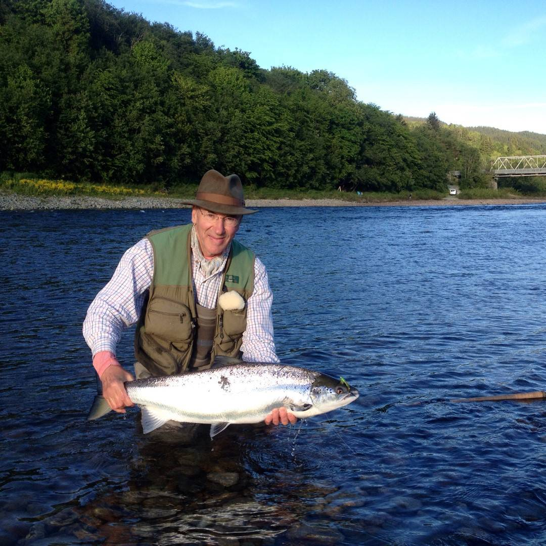 Manfred with his first salmon for the 2016 season