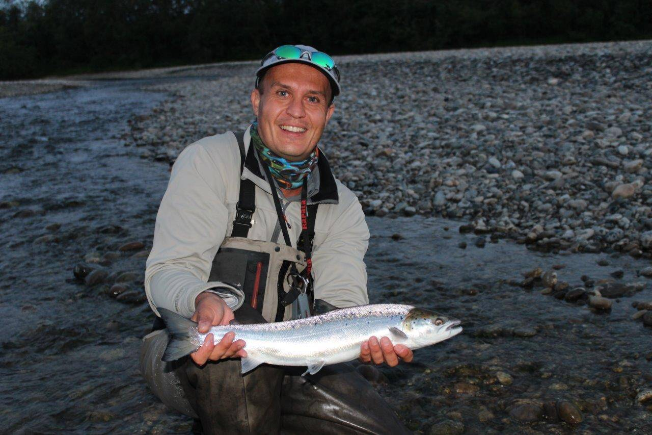 Richard with one of his grilse from this past week.