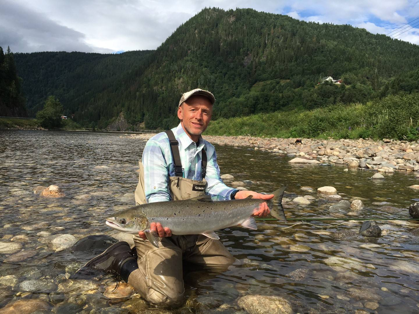Fred Staerk with his first salmon of the week from BS1.