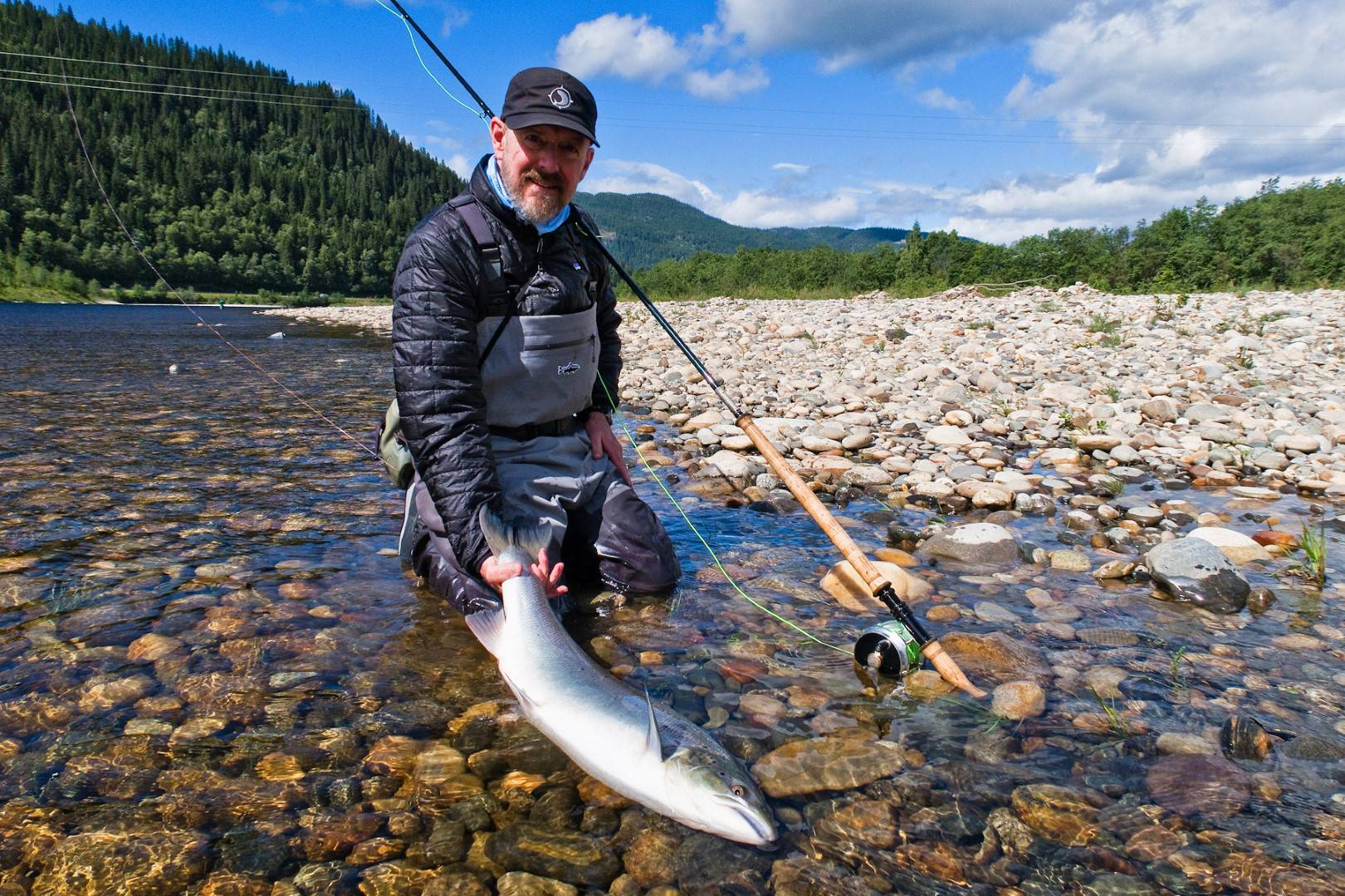Jeff Bright with his first salmon if the week.