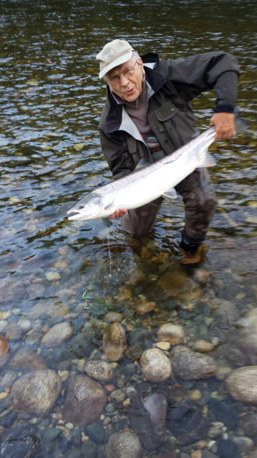 Franz with his nice salmon of about 8kg