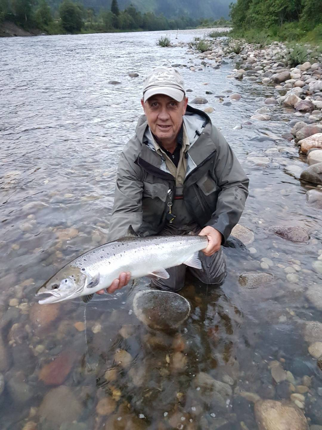 Robert with his smaller of the two he caught salmon from Beat G1.