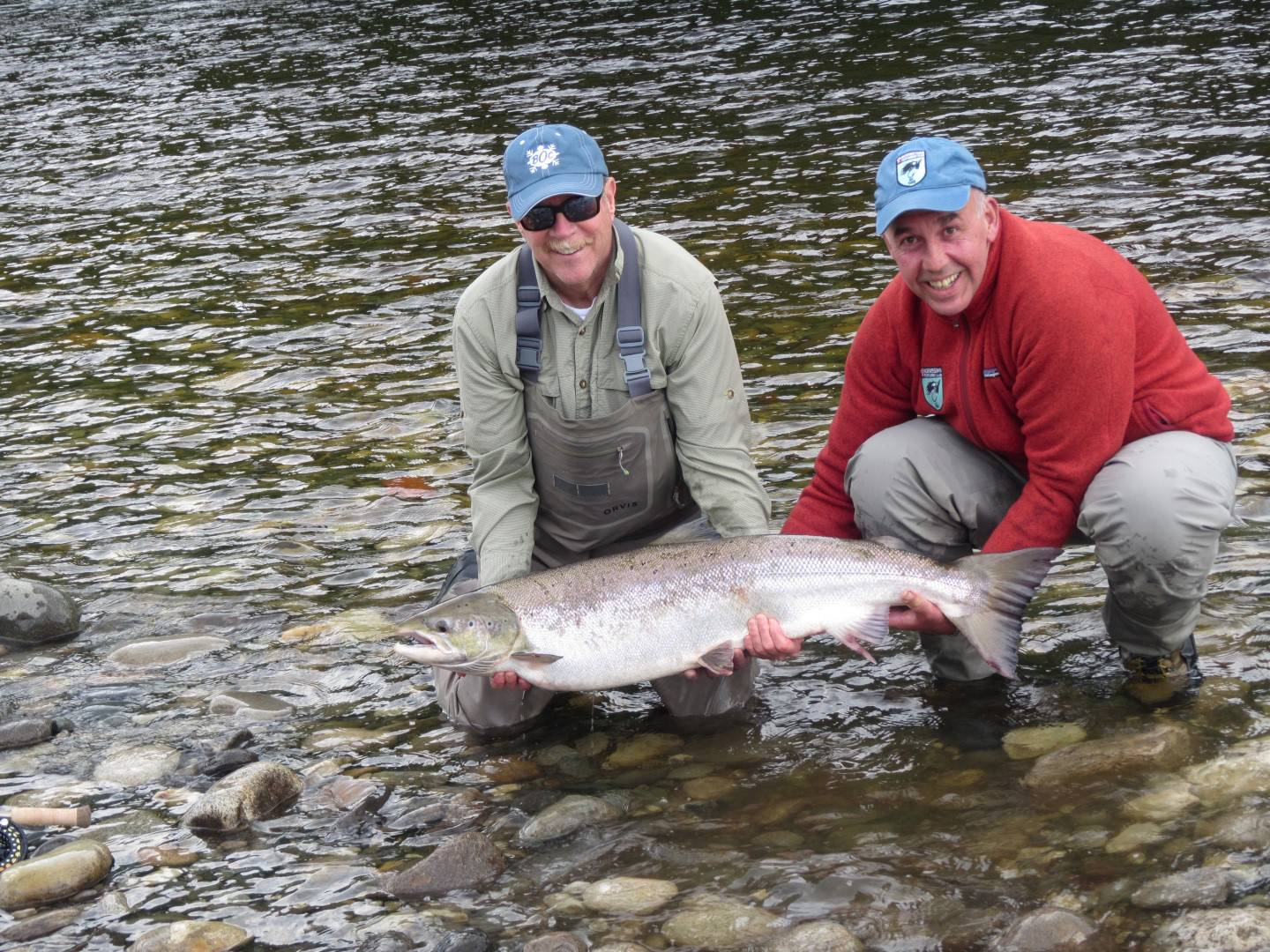 John Bleh with guide Simon Kitcher holding the big female fish