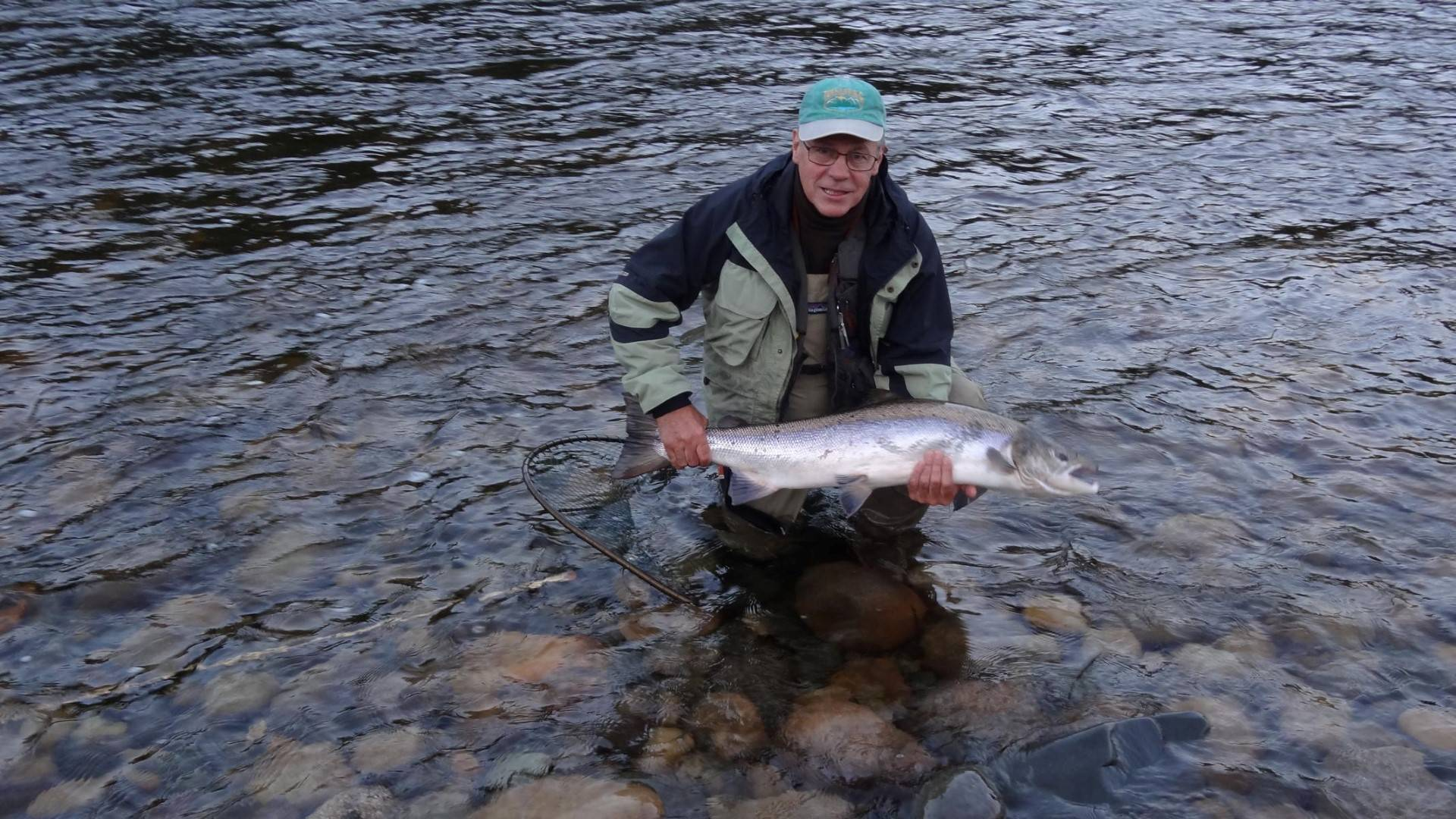 Jaques with his early morning salmon 104cm from Beat B2.