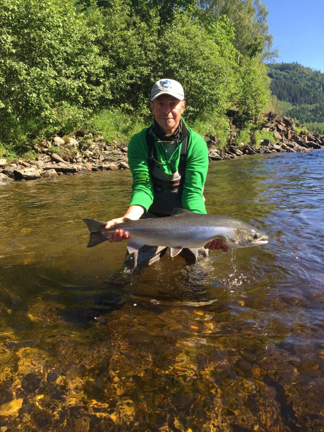 Jean-Luc with his bright sunshine salmon from Beat G1.