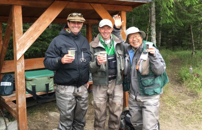 Bruce, Jean-Luc and Sugai celebrating Bruce's perfect morning!