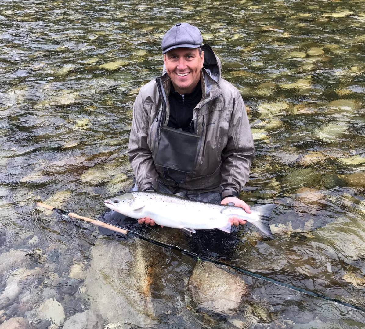 Matthias Vorweg with one of his salmon that day.