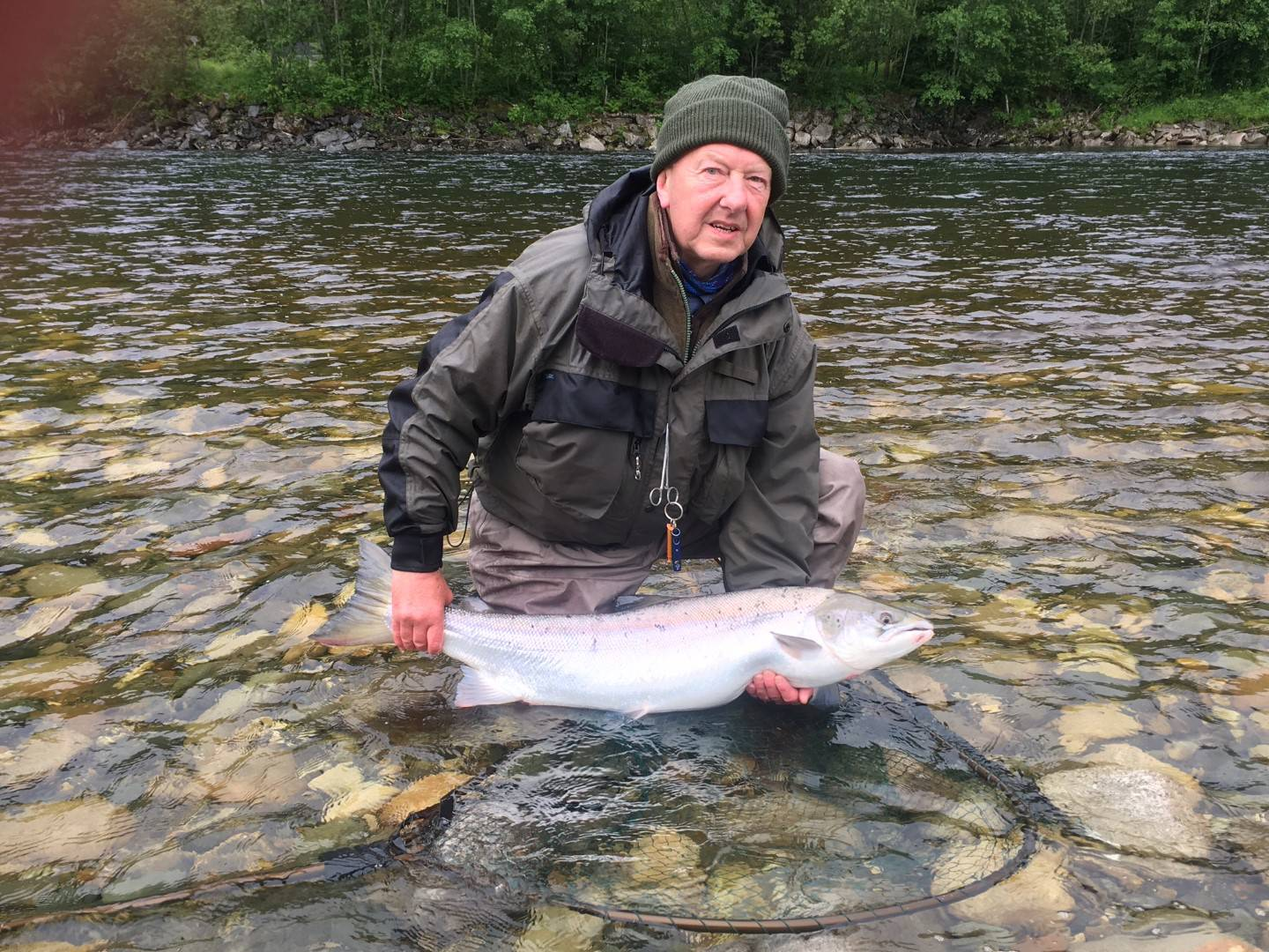 Gordon with his big salmon from Beat B1.