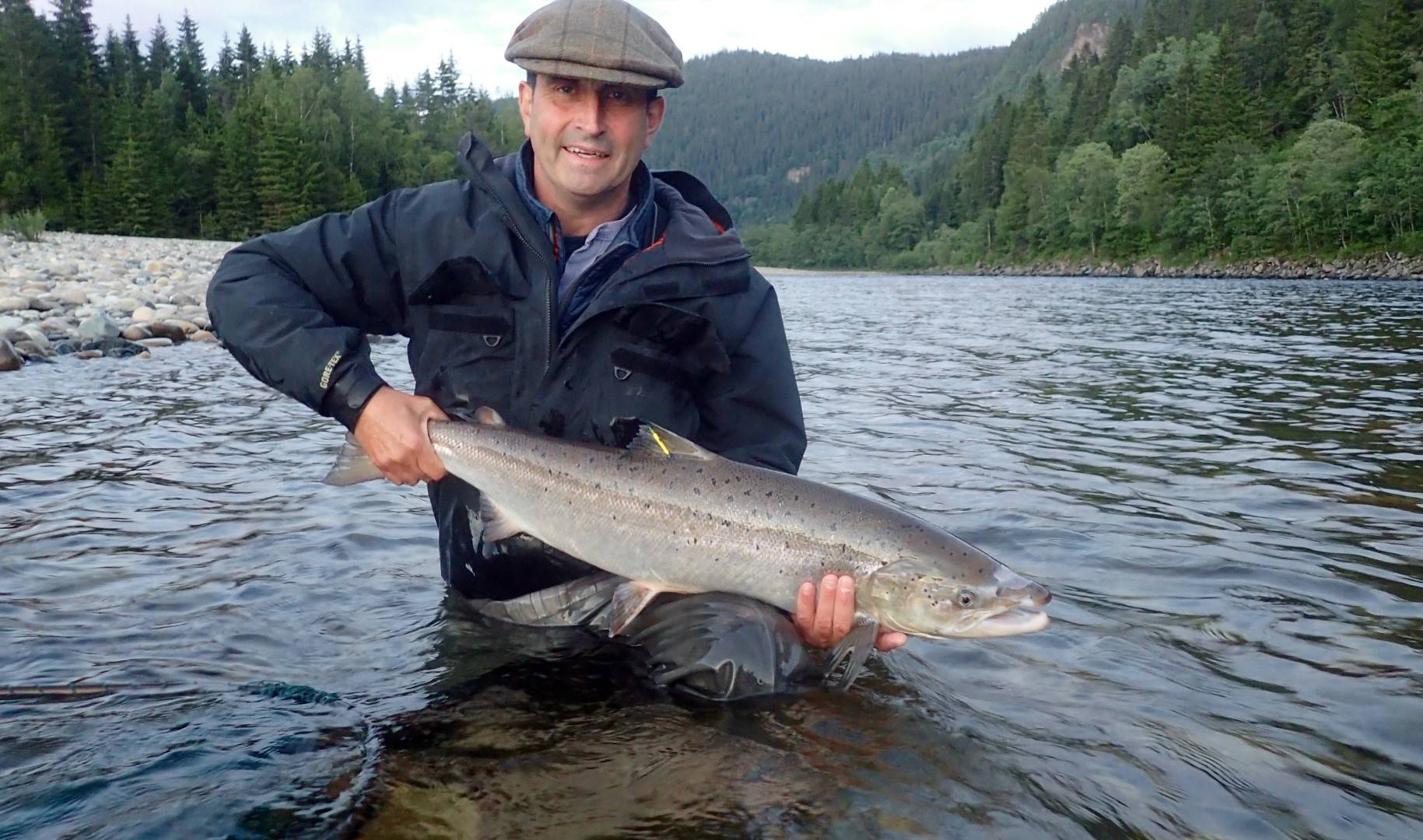 Bruce with his tagged salmon