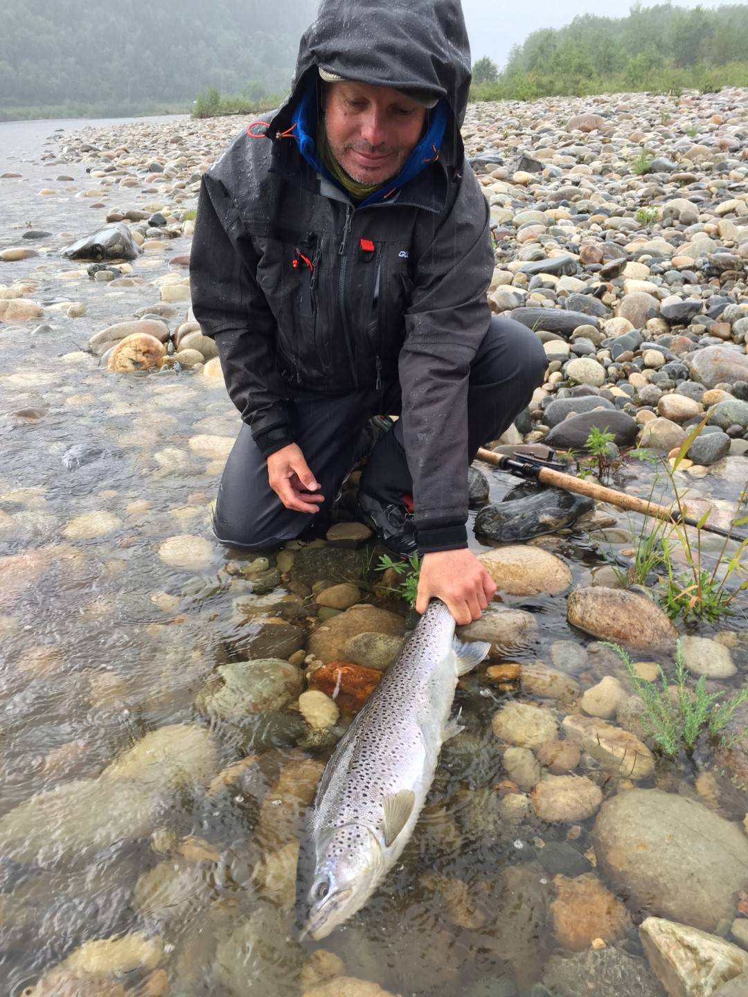 Fabrice with a beautiful seatrout.