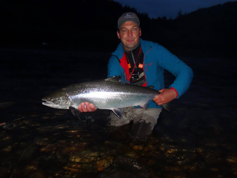 "Sacha Pütz with his ""last minute"" A1 salmon"