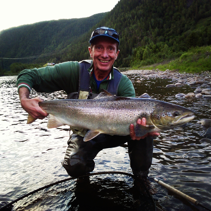 Enrico with his salmon of about 7kg from Beat BS1.