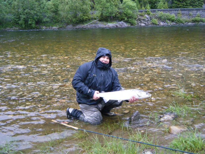 Andre with his salmon of about 7kg.