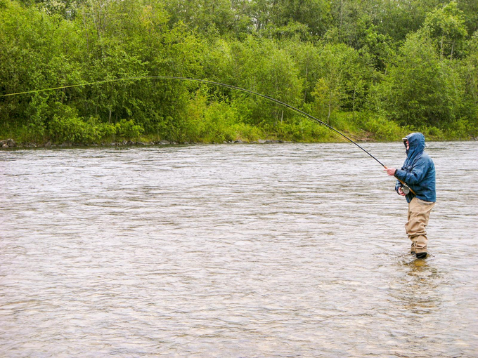 Roland into his first salmon of the week – they are strong!