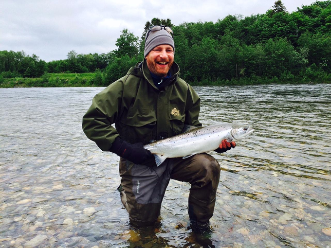 A happy angler with his first Gaula silver