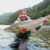 Michal with his first salmon of about 5,5kg