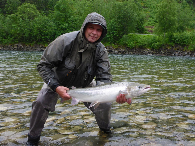 Stefan with his first Gaula salmon