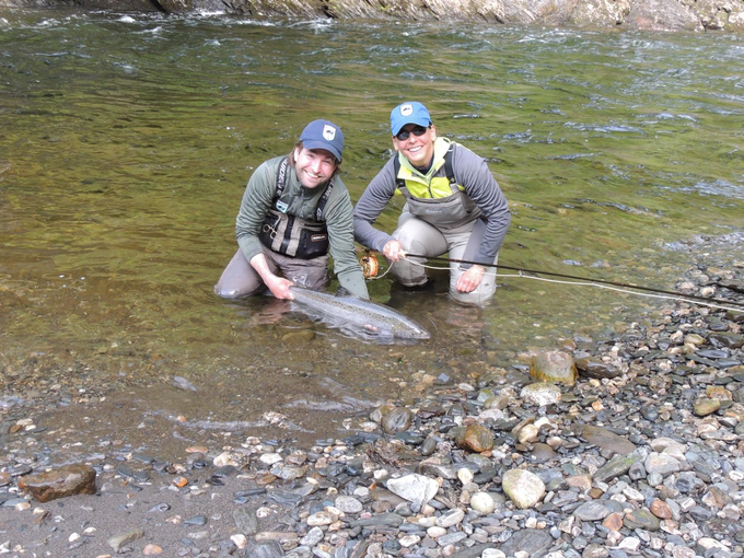 Lynn and guide Peter with her Bua salmon